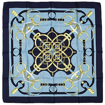 "HERMÈS, scarf, ""Eperons d'Or"" Henri D'origny, 1989."