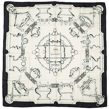 "HERMÈS, scarf, ""Mors & Gourmettes"", Henri D'origny, Original issue , 1961."