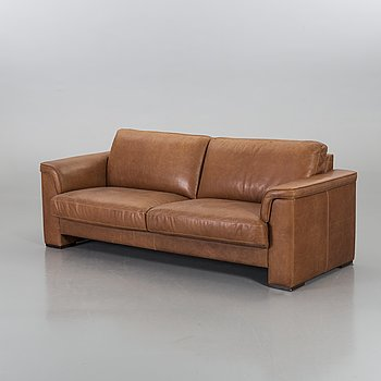 A LEATHER SOFA, end of 20th century.