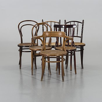 A set of 6 Thonet-type chairs.
