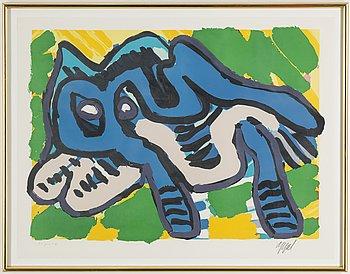 KAREL APPEL, lithograph in colours, signed Appel.