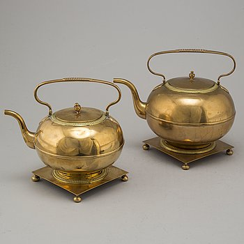 Two brass tea pots from Skultuna, including model No 1, 19th century.