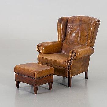 ARMCHAIR AND FOOTSTOOL, the second half of the 20th century.