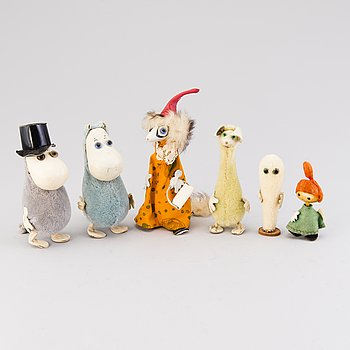 Six 1950-60s Atelier Fauni Moomin characters, Finland.