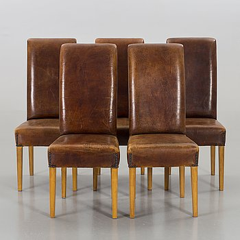 FIVE CHAIRS, the second half of the 20th century.
