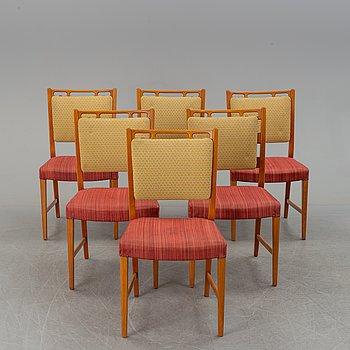 """DAVID ROSÉN, stolar, 6 st, """"Futura-serien"""", samt matbord, okänd formgivare, Nordiska Kompaniet, 1900-talets mitt."""