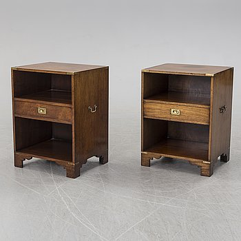BEDSIDE TABLES, two, England, late 20th century.
