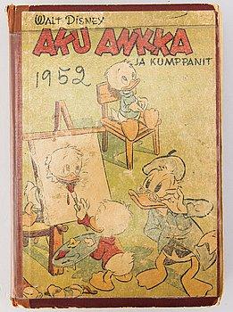 """""""AKU ANKKA ja KUMPPANIT"""", komplett årgång 1952, serietidningar inbundna i bok av förlaget, finskspråkig."""