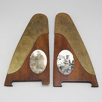 FRAMES, a pair, mahogany and brass. Signed Royal Flying Corps, 1914-15-16-17, France.