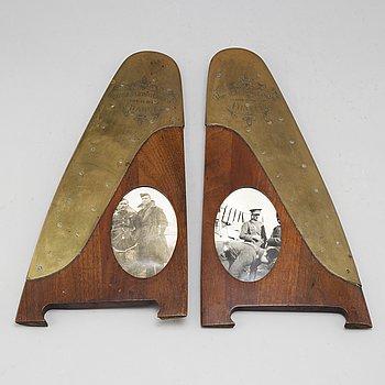 RAMAR, ett par, mahogny och mässing. Märkta Royal Flying Corps, 1914-15-16-17, France.