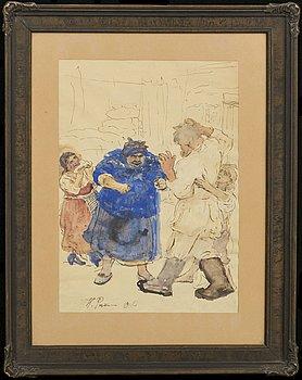 ILJA JEFIMOVITJ REPIN, akvarell och tusch, skiss, signerad 1906.