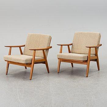 A pair of mid 20th century 'GE-270' teak easy chairs by Hans J Wegner for Getama.