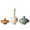 Berndt friberg, a set of three stoneware vases, gustavsberg studio, sweden 1966-73.