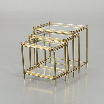 A BRASS NESTING TABLE SECOND HALF  OF 20TH CENTURY,