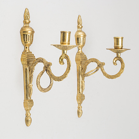 A pair of 'törne' brass wall sconce from ikea, 1990's.