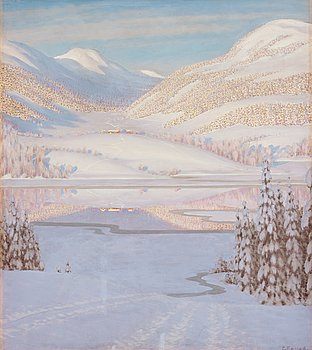 508. Gustaf Fjaestad, Reflections on a winter lake.