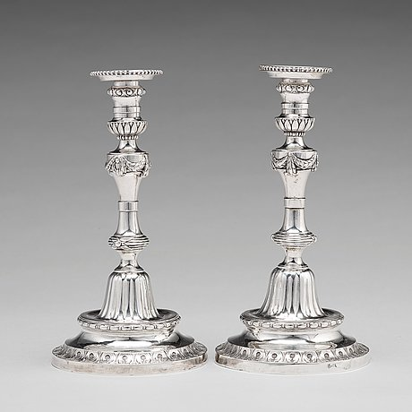 Pehr zethelius, ljusstakar, ett par, silver, stockholm 1780. gustavianska