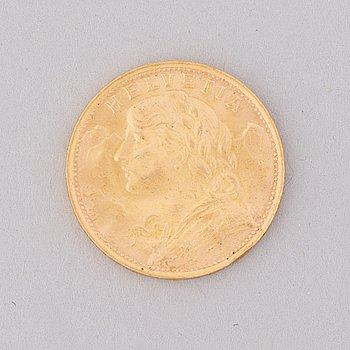 GULDMYNT, 20 fr, Schweiz 1935. Vikt ca 6,4 g.