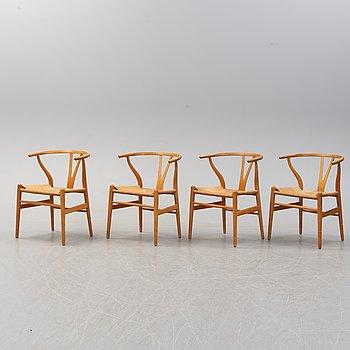 """HANS J WEGNER, karmstolar, 4 st, """"Y-stolen"""", för Carl Hansen & Son, Danmark."""