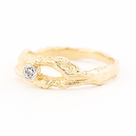 "A björn weckström ring, ""diamond pond"", 8/8 cut diamond, 18k gold. lapponia 1972."