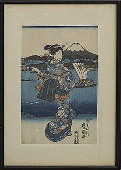 UTAGAWA TOYOKUNI I (1769-1825), färgträsnitt. Japan,
