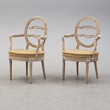 An end of the 18th century Gustavian armchairs.