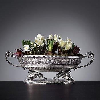 Jardiniere, silver, fantasistämplar, Hanau 1800-talets slut / 1900-talets början, sannolikt. Empire-stil.
