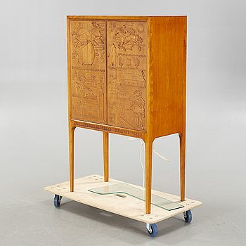 A 1930/40s cocktail cabinet from  SMF/Bodafors, carved doors signed by Ulla Fogelclou-Skogh.