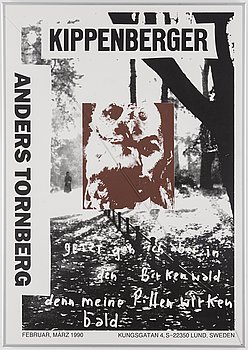 MARTIN KIPPENBERGER (Tyskland 1953-1997): Utställningsaffisch - Anders Tornberg, signerad.