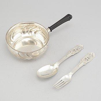 KAROTT MED SKED OCH GAFFEL, silver, Danmark, 1900-talets första hälft.