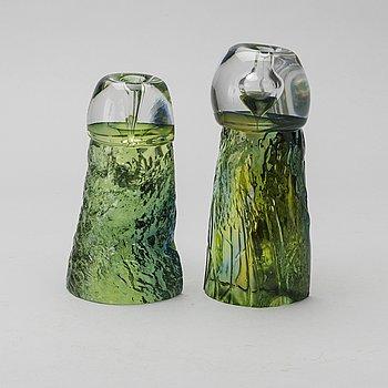 ANN WÄRFF, skulpturer / bokstöd 2 st, Kosta, signerade 1973.