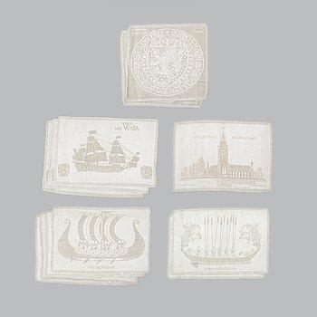 Astrid Sampe, tabletter 10 st samt servetter 2st, linne, olika motiv.