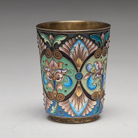 A russian early 20th century silver gilt and enamel beaker, mark of the 6th artel, moscow 1908 1917