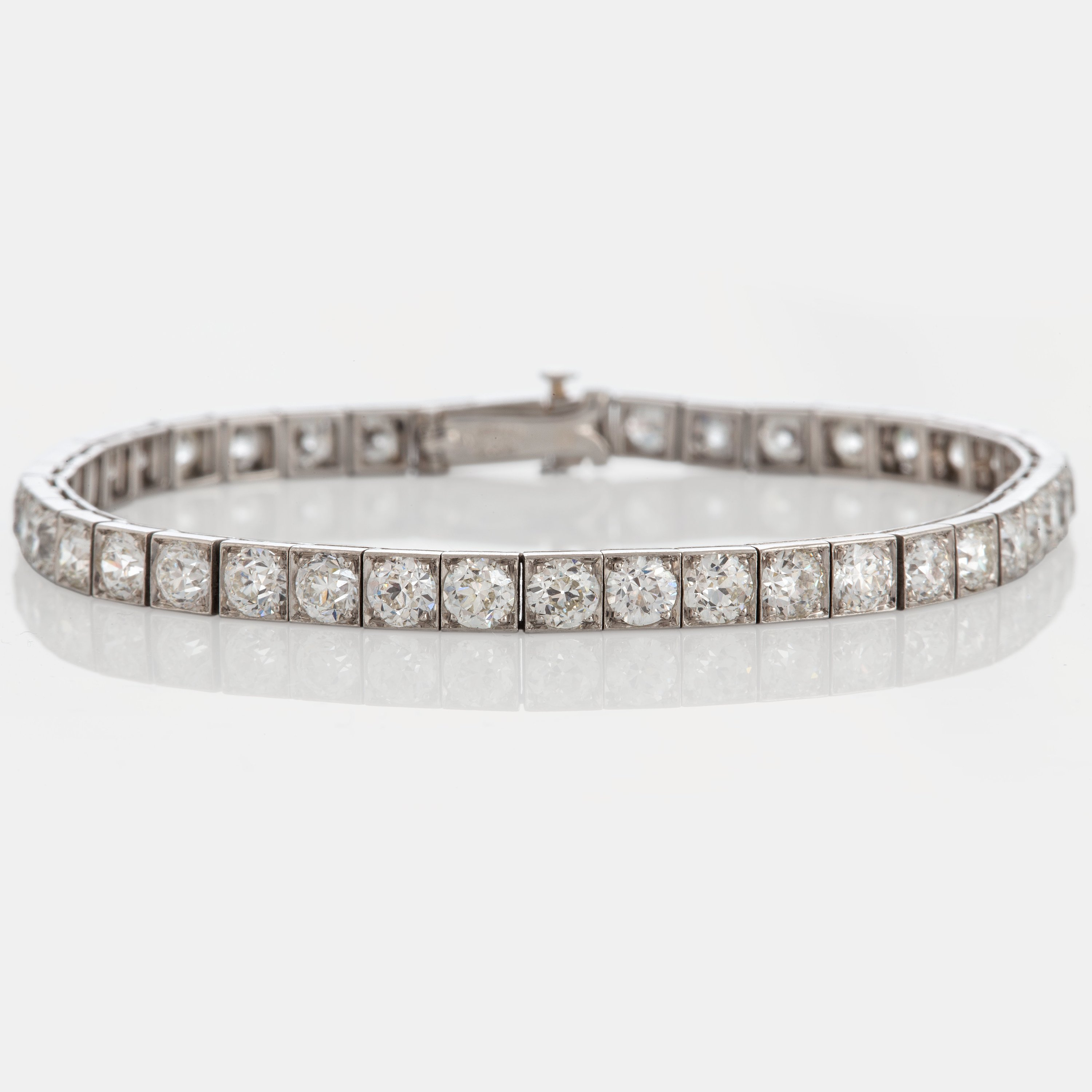 A Tiffany Tennis Bracelet In 18k White Gold Set With Old Cut Diamonds With A Total Weight Of Ca 6 45 Cts Bukowskis