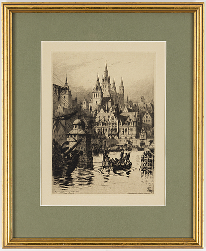 Axel herman hÄgg, etching, 1891, stamped signature