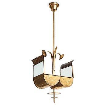 251. SWEDISH GRACE, a brass ceiling light, 1920's-30's.