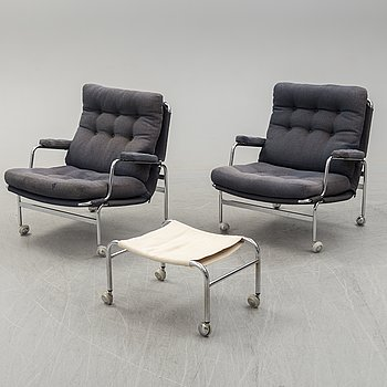 A pair of easy chairs and one ottoman  Karin  a1007171c3353
