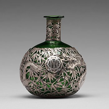 A Chinese silver mounted glass bottle, Shanghai, 1910's.