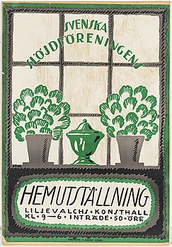 WILHELM KÅGE, a lithographic poster 'Hemutställnng from Rokotryck, AB Kopia, Stockholm, 1917.