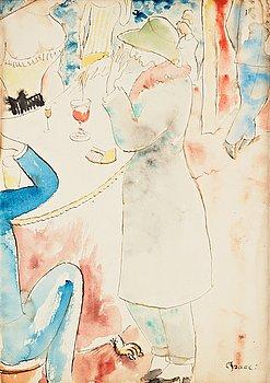 """646. Isaac Grünewald, """"Den franska baren (självporträtt)"""" (The french bar - selfportrait)."""