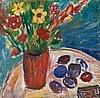 Ivan ivarson, stilleben med blommor och plommon.