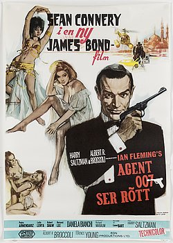 A James Bond movie poster, offset, 'Agent 007 ser rött' ('From Russia with Love'), United Artists, Tabstryck, 1963.