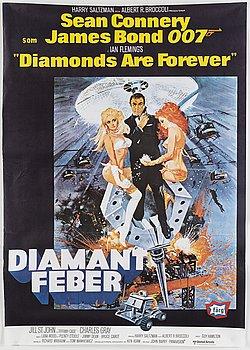 A James Bond movie poster, offset, 'Diamantfeber' ('Diamonds are Forever'), United Artists, 1971.