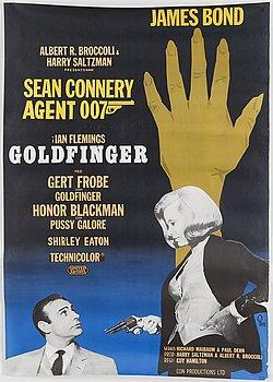 A James Bond movie poster, offset, 'Godfinger', United Artists, 1964.