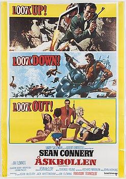 A James Bond movie poster, offset, 'Åskbollen' ('Thunderball'), United Artists, Tryckeri AB Småland, 1965.