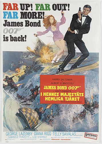 A james bond movie poster, offset, 'i hennes majestäts hemliga tjänst' ('on her majesty's secret service'), 1969