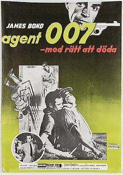 A James Bond movie poster, offset, 'Agent 007 med rätt att döda' ('Dr No'), United Artists, Tryckeri AB Småland, 1962.