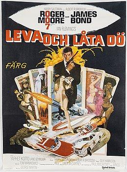A James Bond movie poster, offset, 'Leva och låta dö' ('Live and Let Die'), United Artists, Tryckeri AB Småland, 1973.
