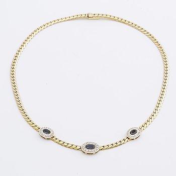 SAFIRCOLLIER 14K guld m 3 safirer, briljanter och diamanter 8/8 0,45 ct totalt enligt gravyr.
