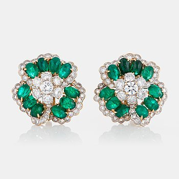 1077. A pair of Bulgari earrings set with cabochon-cut emeralds and round brilliant-cut diamonds.